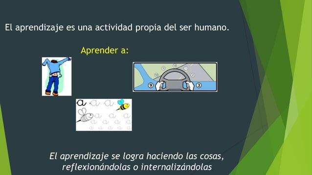 El aprendizaje es una actividad propia del ser humano. Aprender a: El aprendizaje se logra haciendo las cosas, reflexionán...
