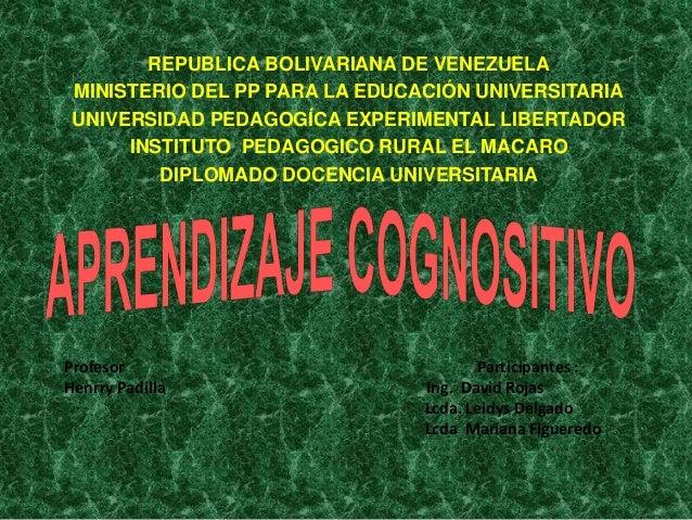 REPUBLICA BOLIVARIANA DE VENEZUELA MINISTERIO DEL PP PARA LA EDUCACIÓN UNIVERSITARIA UNIVERSIDAD PEDAGOGÍCA EXPERIMENTAL L...