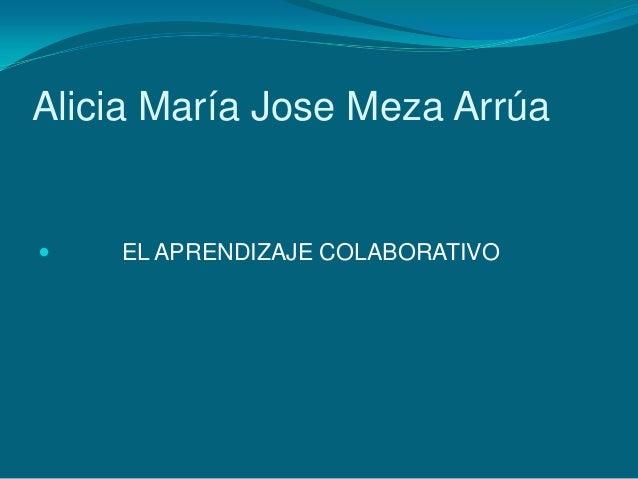 Alicia María Jose Meza Arrúa EL APRENDIZAJE COLABORATIVO