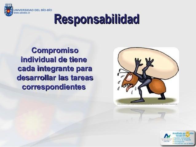 Responsabilidad    Compromiso individual de tienecada integrante paradesarrollar las tareas  correspondientes             ...