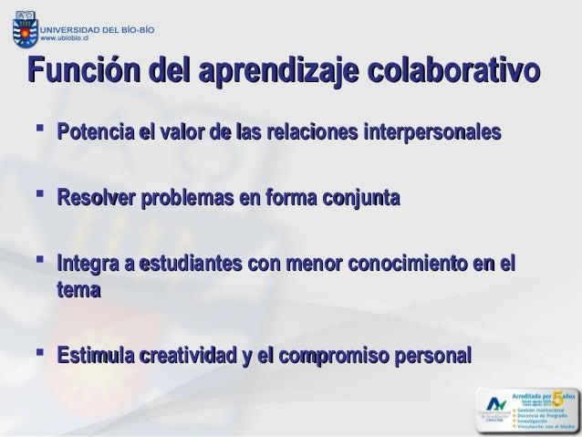 Función del aprendizaje colaborativo Potencia el valor de las relaciones interpersonales Resolver problemas en forma con...