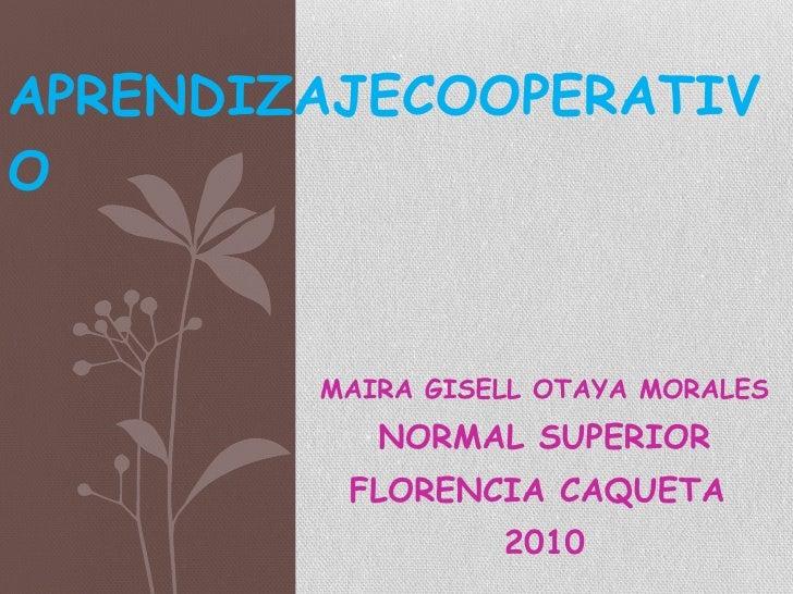 MAIRA GISELL OTAYA MORALES NORMAL SUPERIOR FLORENCIA CAQUETA  2010 APRENDIZAJECOOPERATIVO