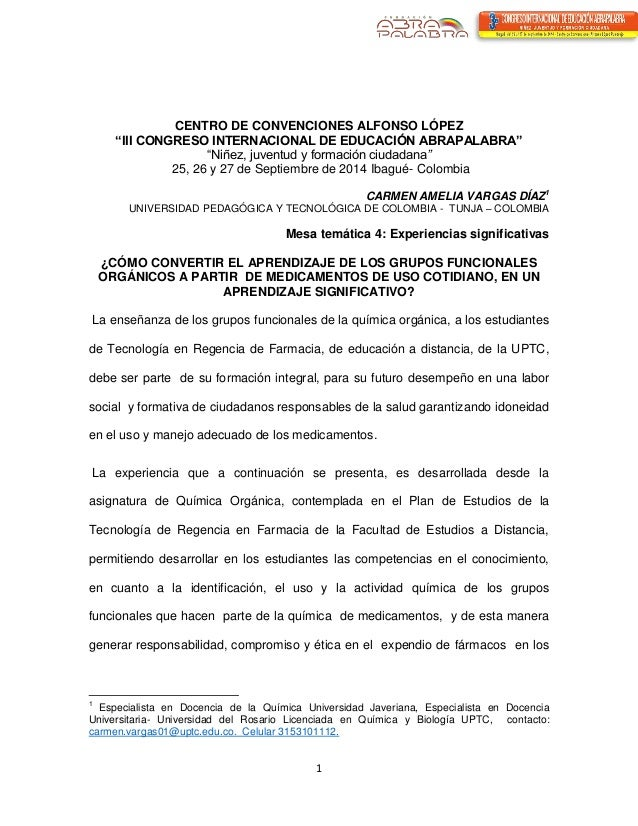 """1  CENTRO DE CONVENCIONES ALFONSO LÓPEZ  """"III CONGRESO INTERNACIONAL DE EDUCACIÓN ABRAPALABRA""""  """"Niñez, juventud y formaci..."""