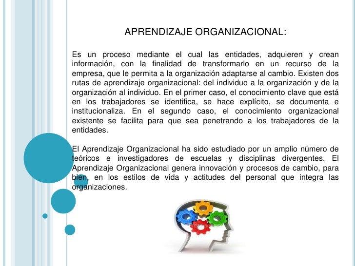 LA ORGANIZACIÓN QUE APRENDE:Las organizaciones tienen la facultad de aprender a través de los individuosque la conforman, ...