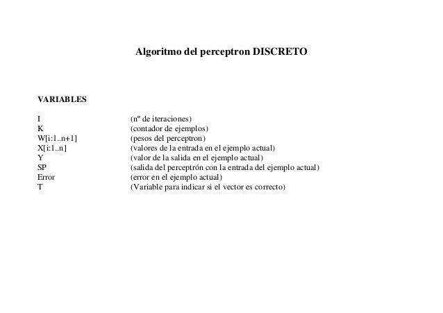 Algoritmo del perceptron DISCRETOVARIABLESI             (nº de iteraciones)K             (contador de ejemplos)W[i:1..n+1]...