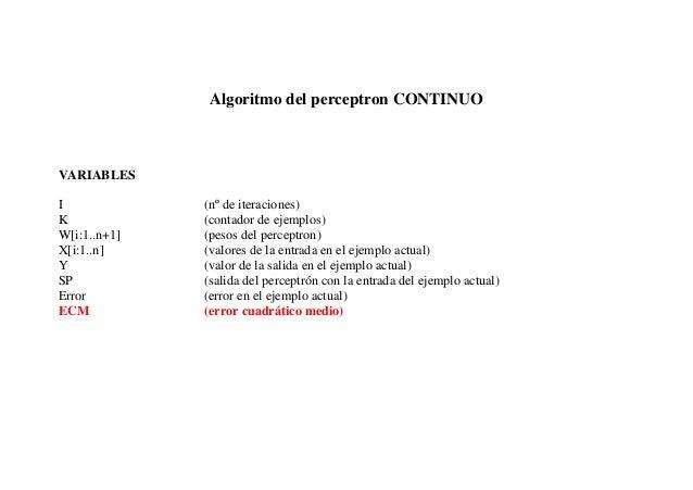 Algoritmo del perceptron CONTINUOVARIABLESI             (nº de iteraciones)K             (contador de ejemplos)W[i:1..n+1]...