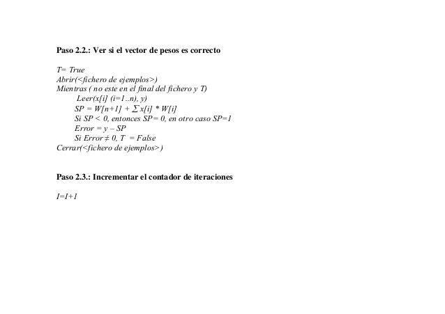 Paso 2.2.: Ver si el vector de pesos es correctoT= TrueAbrir(<fichero de ejemplos>)Mientras ( no este en el final del fich...