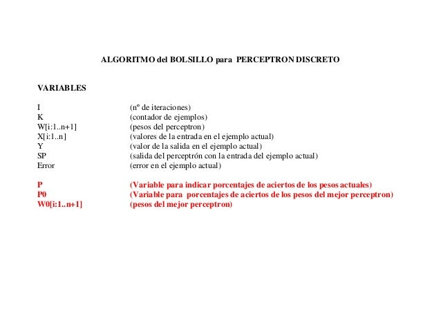 ALGORITMO del BOLSILLO para PERCEPTRON DISCRETOVARIABLESI                   (nº de iteraciones)K                   (contad...