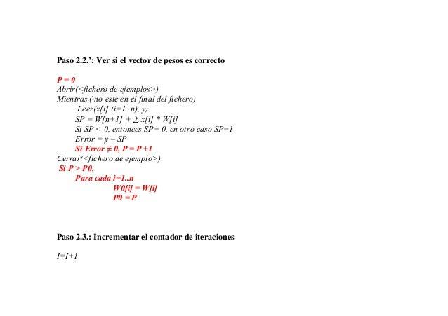 Paso 2.2.': Ver si el vector de pesos es correctoP=0Abrir(<fichero de ejemplos>)Mientras ( no este en el final del fichero...