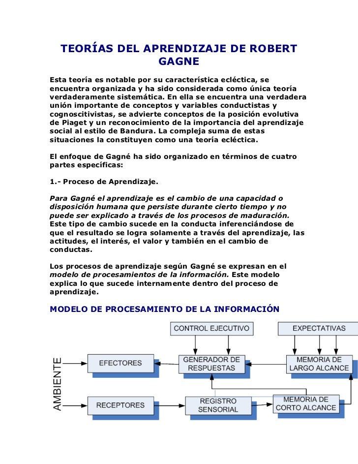 TEORÍAS DEL APRENDIZAJE DE ROBERT GAGNE<br />Esta teoría es notable por su característica ecléctica, se encuentra organiza...