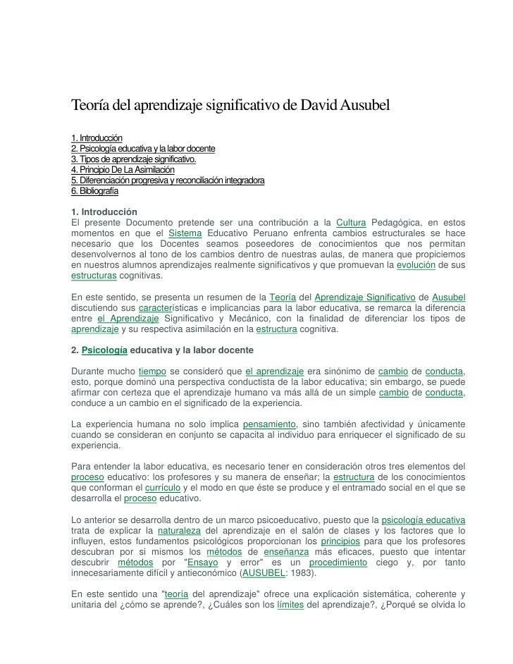 Teoría del aprendizaje significativo de David Ausubel 1. Introducción 2. Psicología educativa y la labor docente 3. Tipos ...