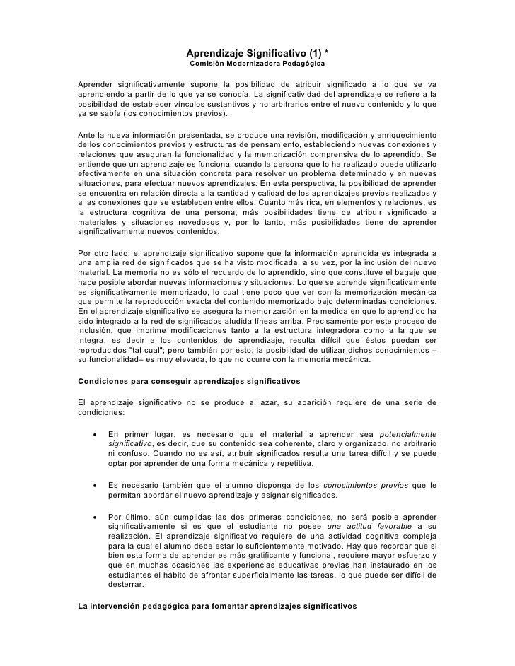 Aprendizaje Significativo (1) *                               Comisión Modernizadora Pedagógica  Aprender significativamen...