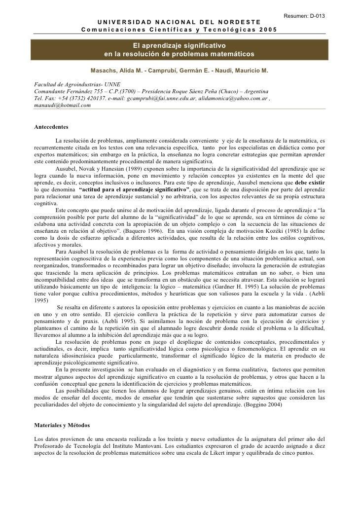 Resumen: D-013                       UNIVERSIDAD NACIONAL DEL NORDEST E                    Comunicaciones Científicas y Te...