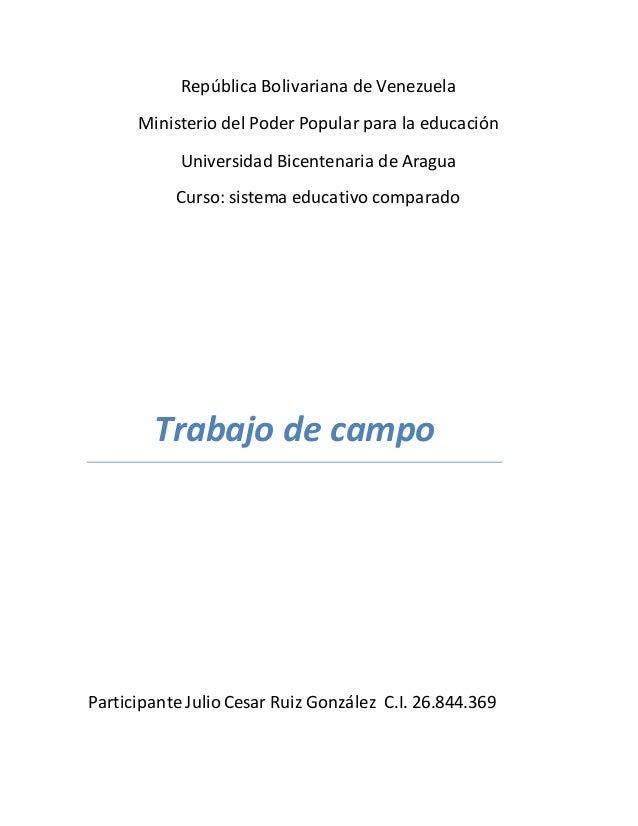 República Bolivariana de Venezuela Ministerio del Poder Popular para la educación Universidad Bicentenaria de Aragua Curso...
