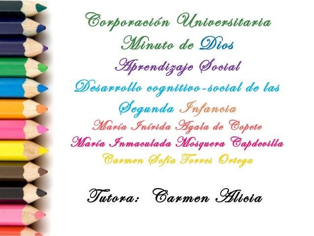 Corporación Universitaria Minuto de Dios Aprendizaje Social Desarrollo cognitivo-social de las Segunda Infancia  María Iní...