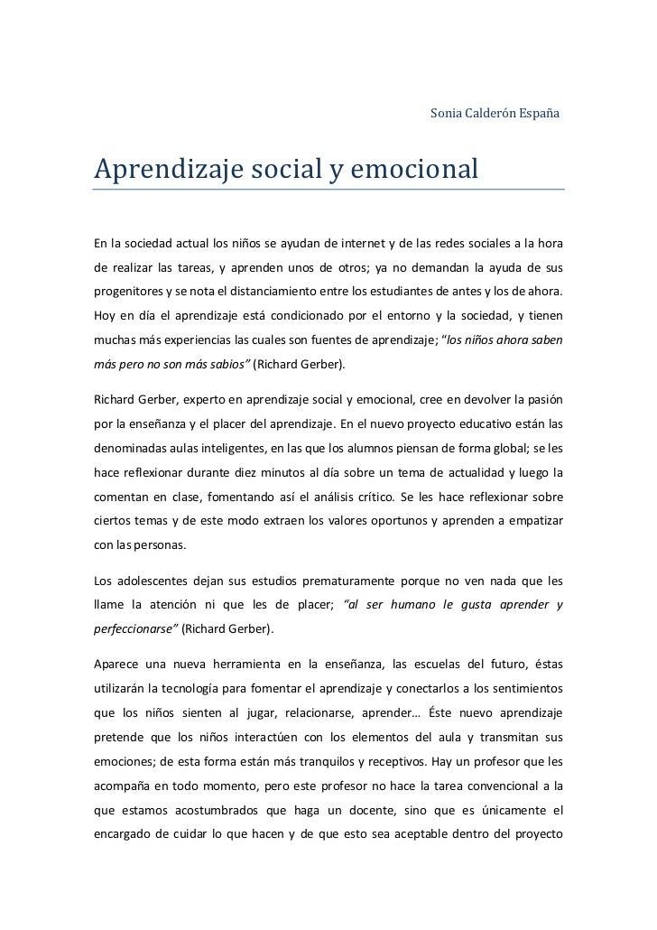 Sonia Calderón EspañaAprendizaje social y emocionalEn la sociedad actual los niños se ayudan de internet y de las redes so...