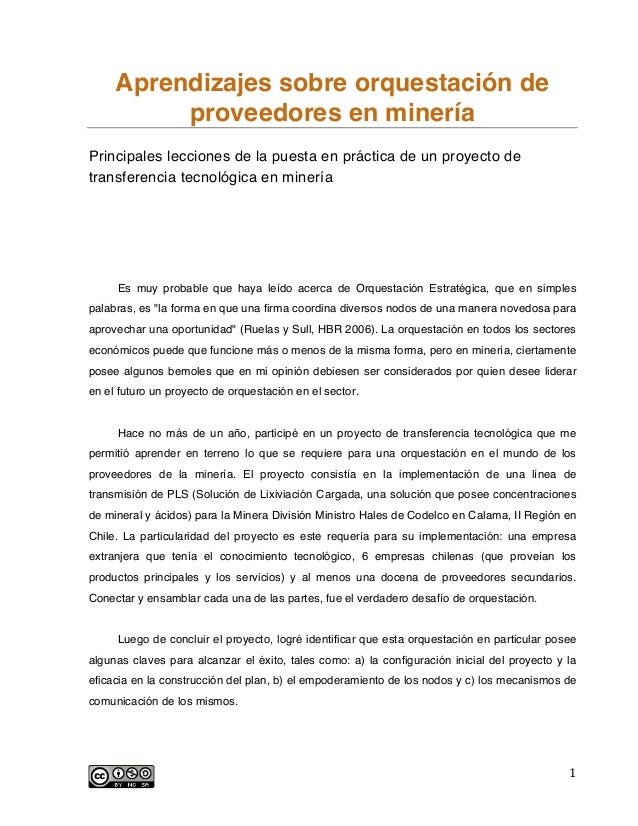 Aprendizajes sobre orquestación de proveedores en minería Principales lecciones de la puesta en práctica de un proyecto de...