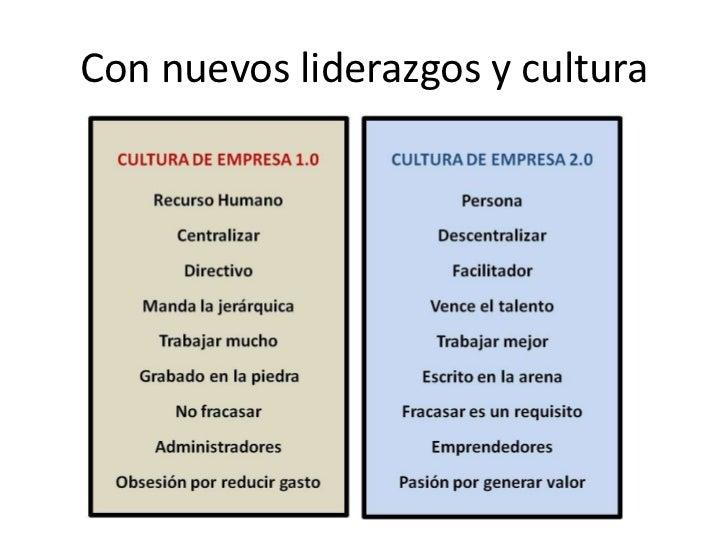 Con nuevosliderazgos y cultura<br />