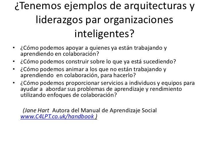 ¿Tenemosejemplos de arquitecturasy liderazgos par organizacionesinteligentes?<br />¿Cómo podemos apoyar a quienes ya están...