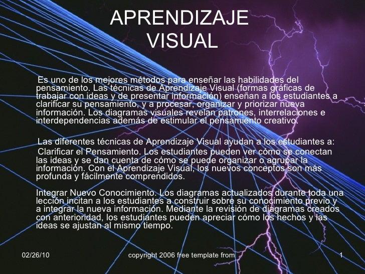 APRENDIZAJE  VISUAL <ul><li>Es uno de los mejores métodos para enseñar las habilidades del pensamiento. Las técnicas de Ap...