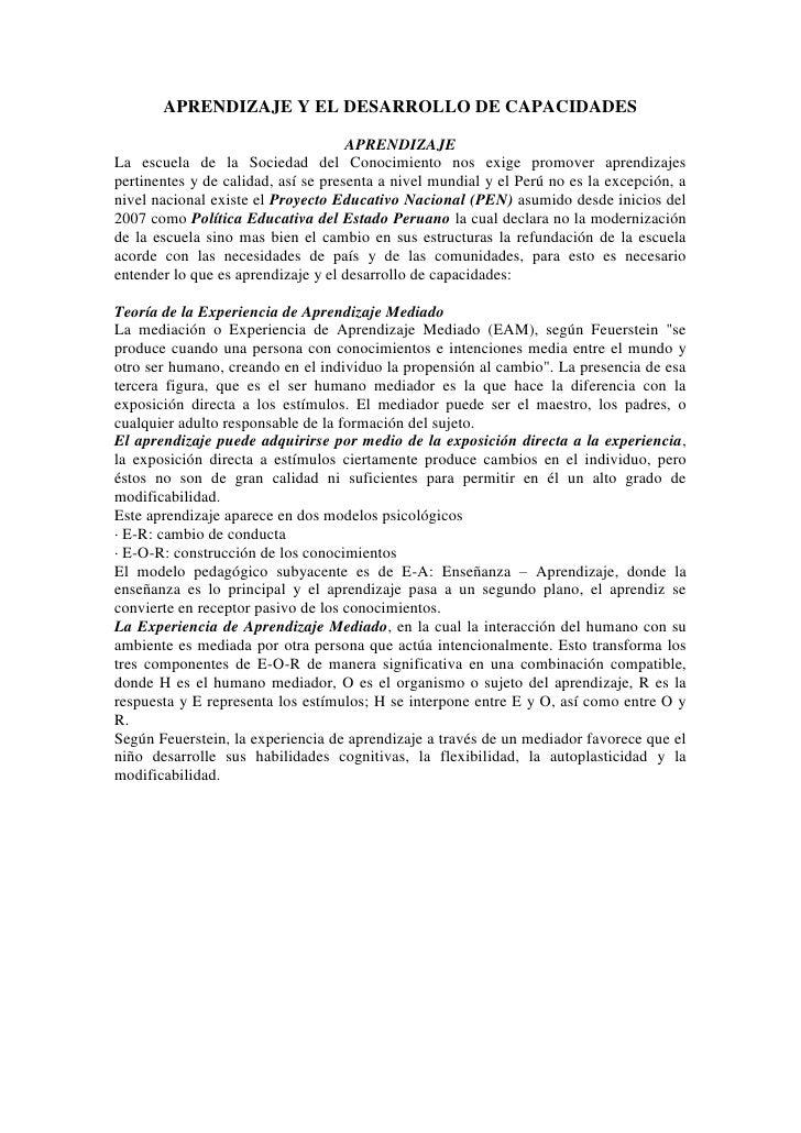 APRENDIZAJE Y EL DESARROLLO DE CAPACIDADES                                     APRENDIZAJELa escuela de la Sociedad del Co...