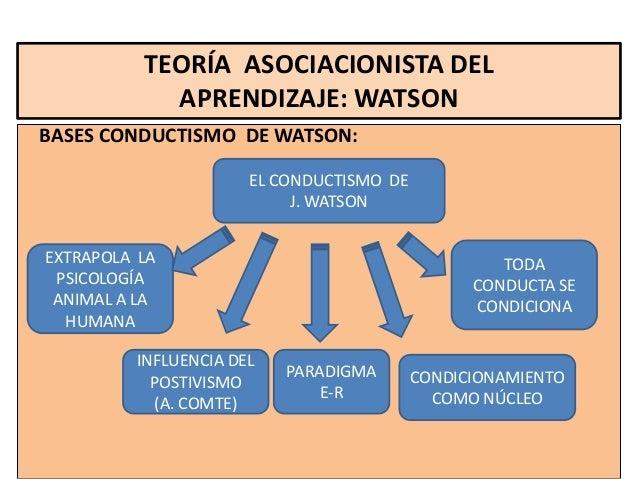 TEORÍA ASOCIACIONISTA DEL            APRENDIZAJE: WATSONBASES CONDUCTISMO DE WATSON:                      EL CONDUCTISMO D...