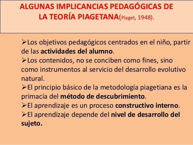ALGUNAS IMPLICANCIAS PEDAGÓGICAS DE    LA TEORÍA PIAGETANA(Piaget, 1948).Los objetivos pedagógicos centrados en el niño, ...