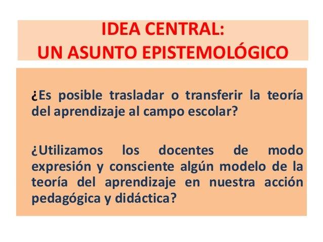 IDEA CENTRAL:UN ASUNTO EPISTEMOLÓGICO¿Es posible trasladar o transferir la teoríadel aprendizaje al campo escolar?¿Utiliza...