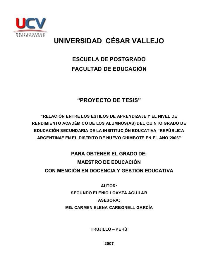 """UNIVERSIDAD CÉSAR VALLEJO                ESCUELA DE POSTGRADO                FACULTAD DE EDUCACIÓN                  """"PROYE..."""