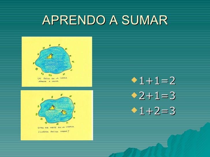 APRENDO A SUMAR           1+1=2           2+1=3           1+2=3