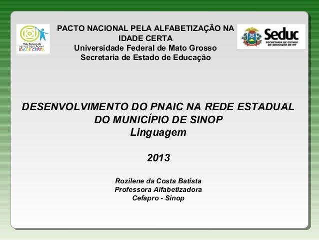 PACTO NACIONAL PELA ALFABETIZAÇÃO NA IDADE CERTA Universidade Federal de Mato Grosso Secretaria de Estado de Educação  DES...