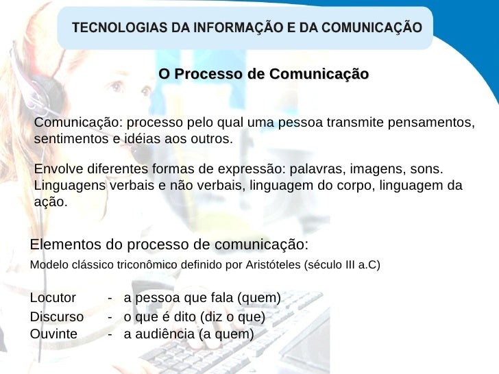 Comunicação: processo pelo qual uma pessoa transmite pensamentos, sentimentos e idéias aos outros.  Elementos do processo ...
