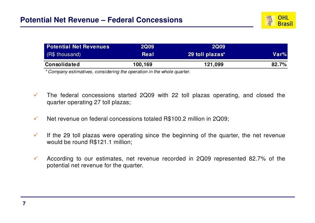 Potential Net Revenue – Federal Concessions         Potential Net Revenues                        2Q09                    ...