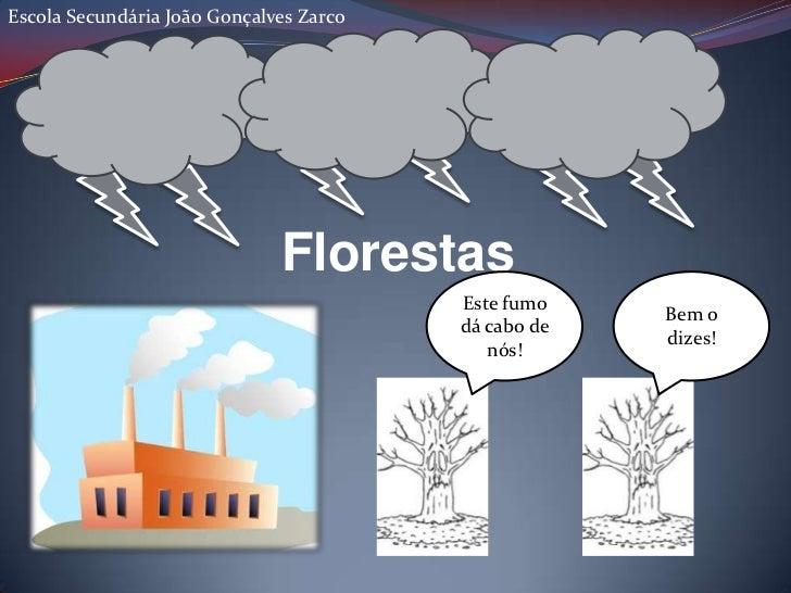 Escola Secundária João Gonçalves Zarco<br />Florestas<br />Este fumo dá cabo de nós!<br />Bem o dizes!<br />