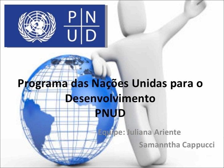 Programa das Nações Unidas para o       Desenvolvimento             PNUD              Equipe: Juliana Ariente             ...