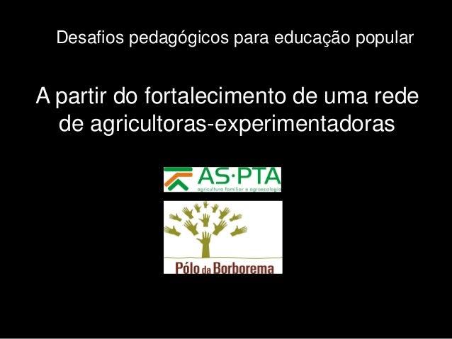 Desafios pedagógicos para educação popular  A partir do fortalecimento de uma rede de agricultoras-experimentadoras