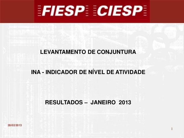 LEVANTAMENTO DE CONJUNTURA             INA - INDICADOR DE NÍVEL DE ATIVIDADE                 RESULTADOS – JANEIRO 201328/0...