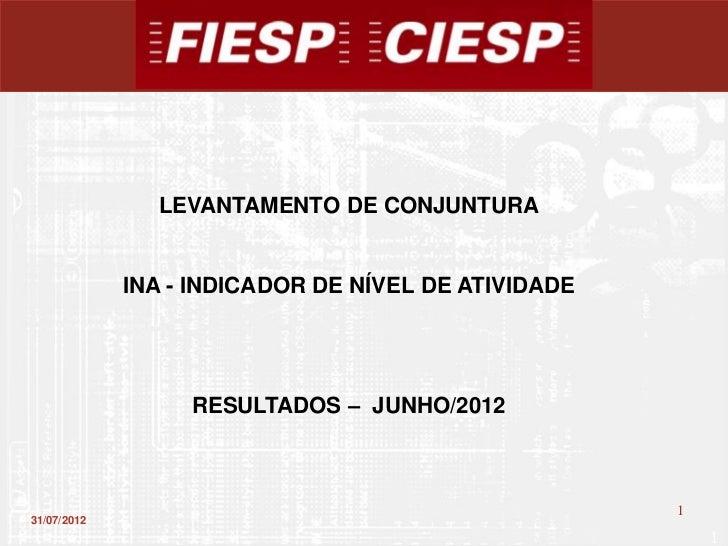 LEVANTAMENTO DE CONJUNTURA             INA - INDICADOR DE NÍVEL DE ATIVIDADE                  RESULTADOS – JUNHO/2012     ...