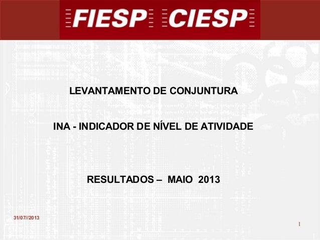 1 1 31/07//2013 LEVANTAMENTO DE CONJUNTURA INA - INDICADOR DE NÍVEL DE ATIVIDADE RESULTADOS – MAIO 2013