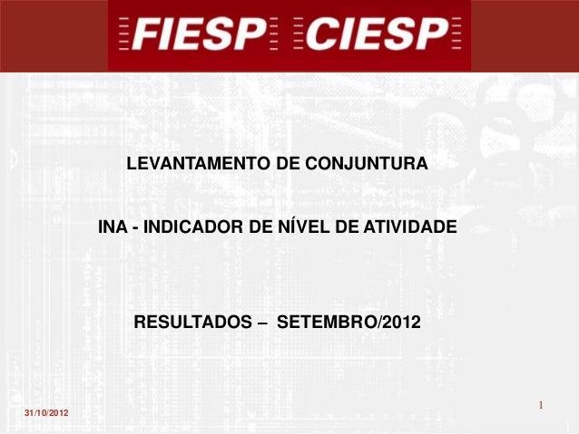 LEVANTAMENTO DE CONJUNTURA             INA - INDICADOR DE NÍVEL DE ATIVIDADE                RESULTADOS – SETEMBRO/2012    ...