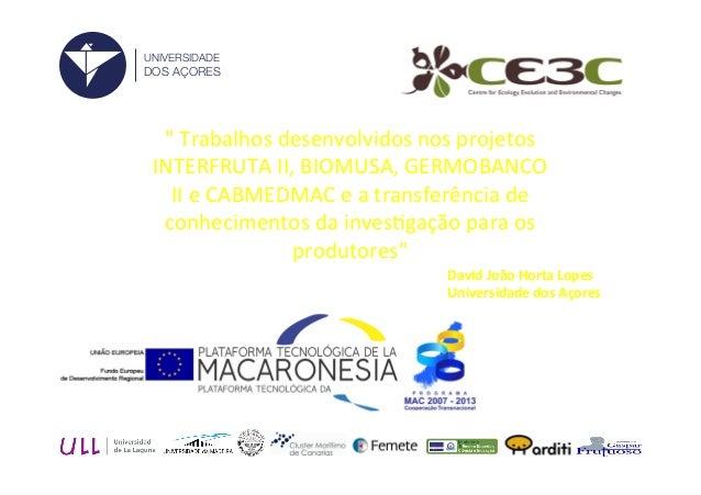 """""""  Trabalhos  desenvolvidos  nos  projetos   INTERFRUTA  II,  BIOMUSA,  GERMOBANCO   II  e  CABMEDMA..."""