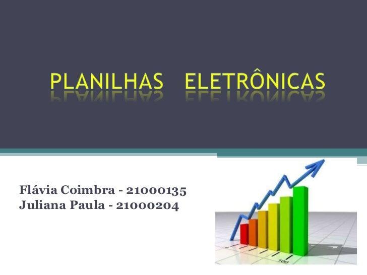 Flávia Coimbra - 21000135 Juliana Paula - 21000204