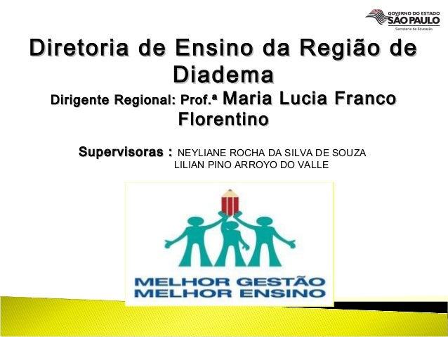 Diretoria de Ensino da Região deDiretoria de Ensino da Região de DiademaDiadema Dirigente Regional: Prof.ªDirigente Region...
