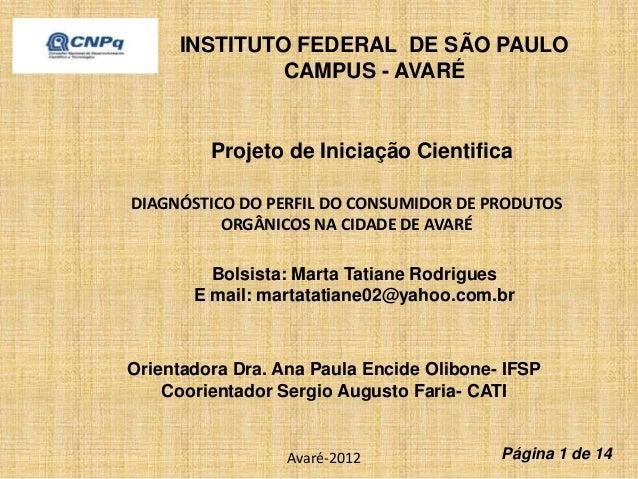 INSTITUTO FEDERAL DE SÃO PAULO  CAMPUS - AVARÉ  Projeto de Iniciação Cientifica  DIAGNÓSTICO DO PERFIL DO CONSUMIDOR DE PR...