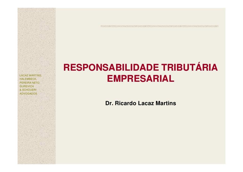 ApresentaçAo   Responsabilidade Empresarial Tributaria