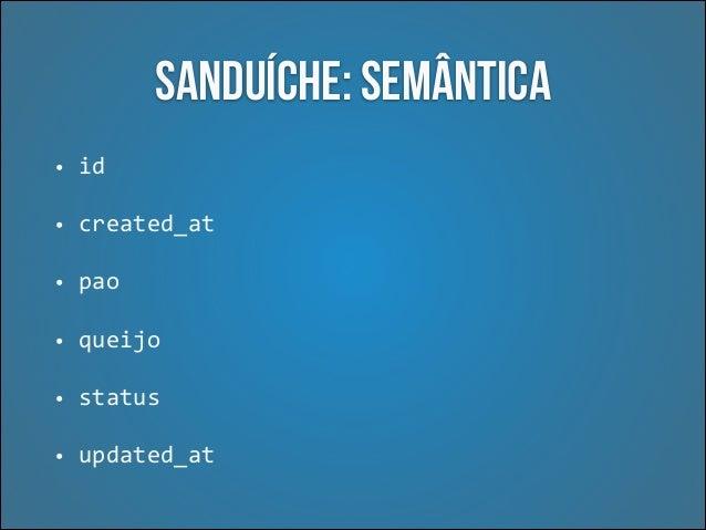 Semântica  •  Atributos que tem o mesmo significado para todos os recursos da API  •  Comportamentos inesperados (erros de ...