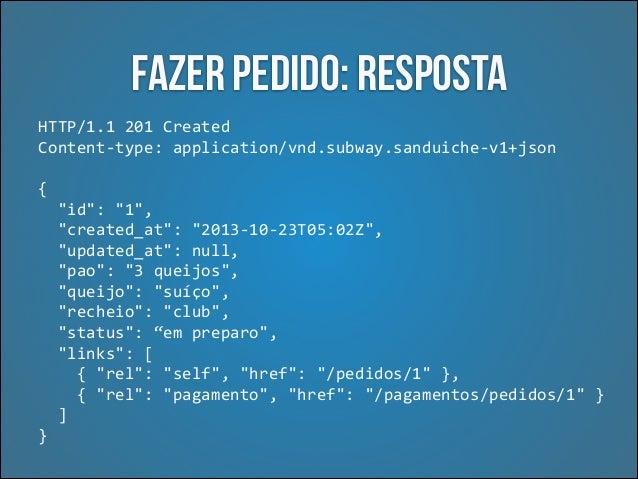 Atualizar pedido: Resposta HTTP/1.1  200  Ok   Content-‐type:  application/vnd.subway.sanduiche-‐v1+json   { ...