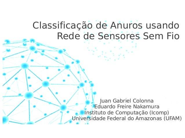 Classificação de Anuros usando Rede de Sensores Sem Fio  Juan Gabriel Colonna Eduardo Freire Nakamura Instituto de Computa...