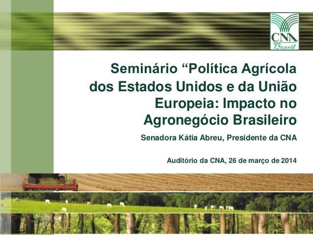 """11 Seminário """"Política Agrícola dos Estados Unidos e da União Europeia: Impacto no Agronegócio Brasileiro Senadora Kátia A..."""