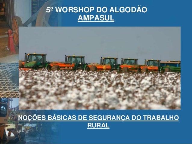 AMPASUL 5º WORSHOP DO ALGODÃO NOÇÕES BÁSICAS DE SEGURANÇA DO TRABALHO RURAL
